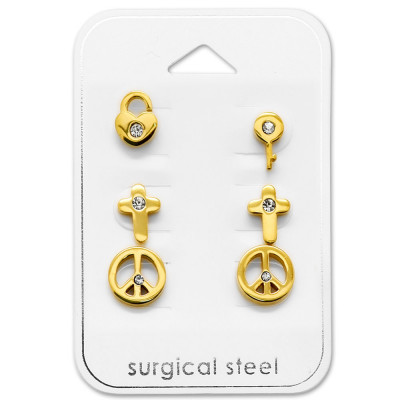 Gold Surgical Steel Mixed Set on Card
