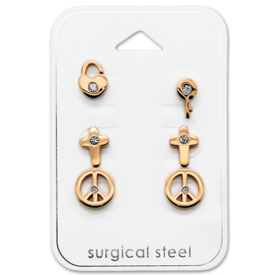 Rose Gold Surgical Steel Mixed Set with Crystal on Card