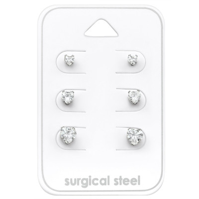 High Polish Surgical Steel Heart Set with Cubic Zirconia on Card