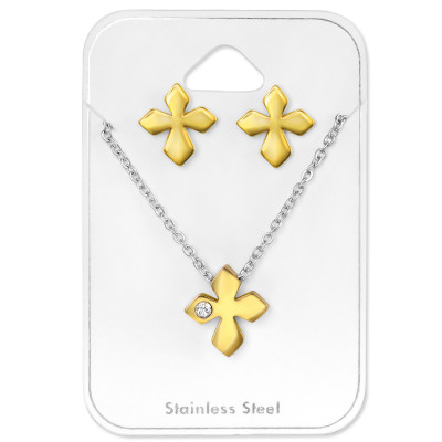 Gold Surgical Steel Cross Set with Crystal on Card