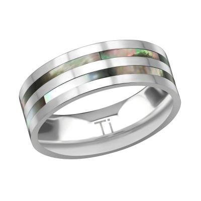Titanium Double Line Ring with Imitation Abalone