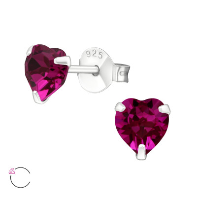 Silver Heart Ear Studs with Crystals from Swarovski®