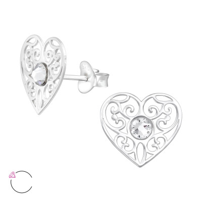 Silver Laser Cut Heart Ear Studs with Crystals from Swarovski®
