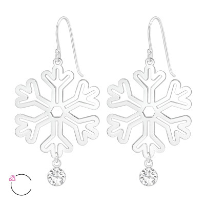 Silver Laser Cut Snowflake Earrings with Crystals from Swarovski®