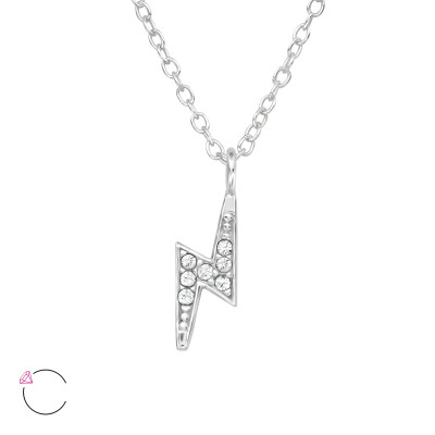 Silver Bolt Necklace with Crystals from Swarovski®