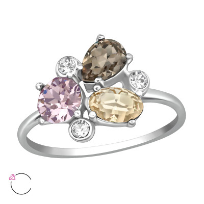 Silver Geometric Ring with Crystals from Swarovski®