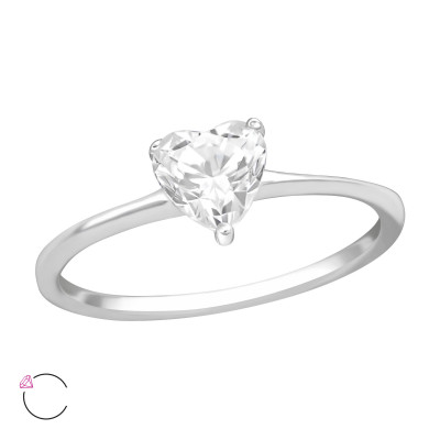 Silver Heart Ring with Cubic Zirconia from Swarovski®