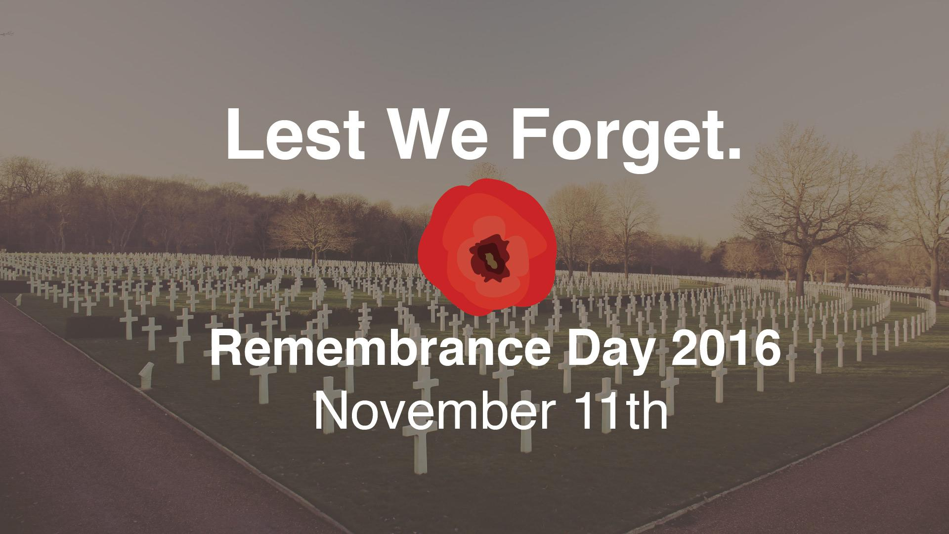 Remembrance & Veterans Day 2016