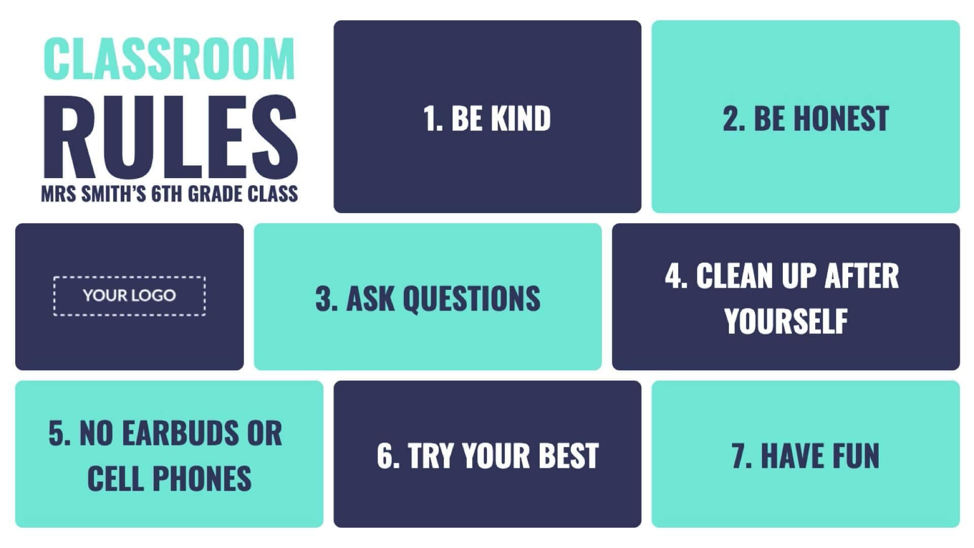 Announcement Classroom Rules Digital Signage Template