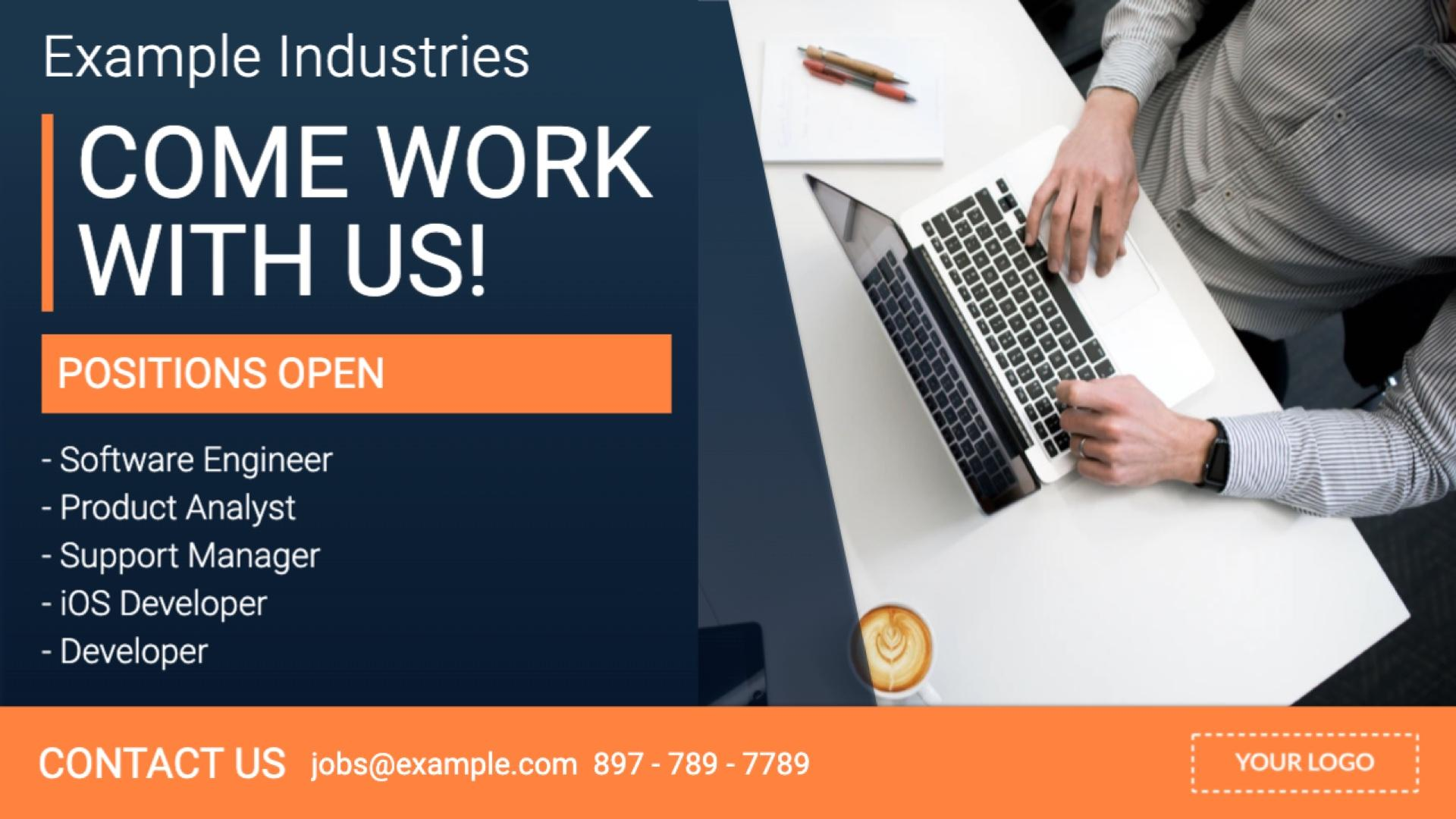 Announcement Job Posting Digital Signage Template