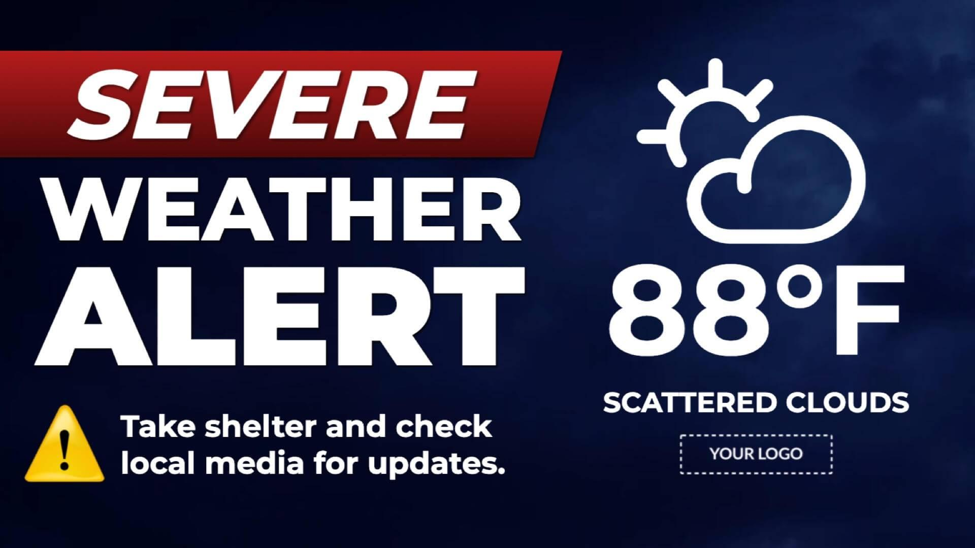 Announcement Severe Weather Alert Digital Signage Template