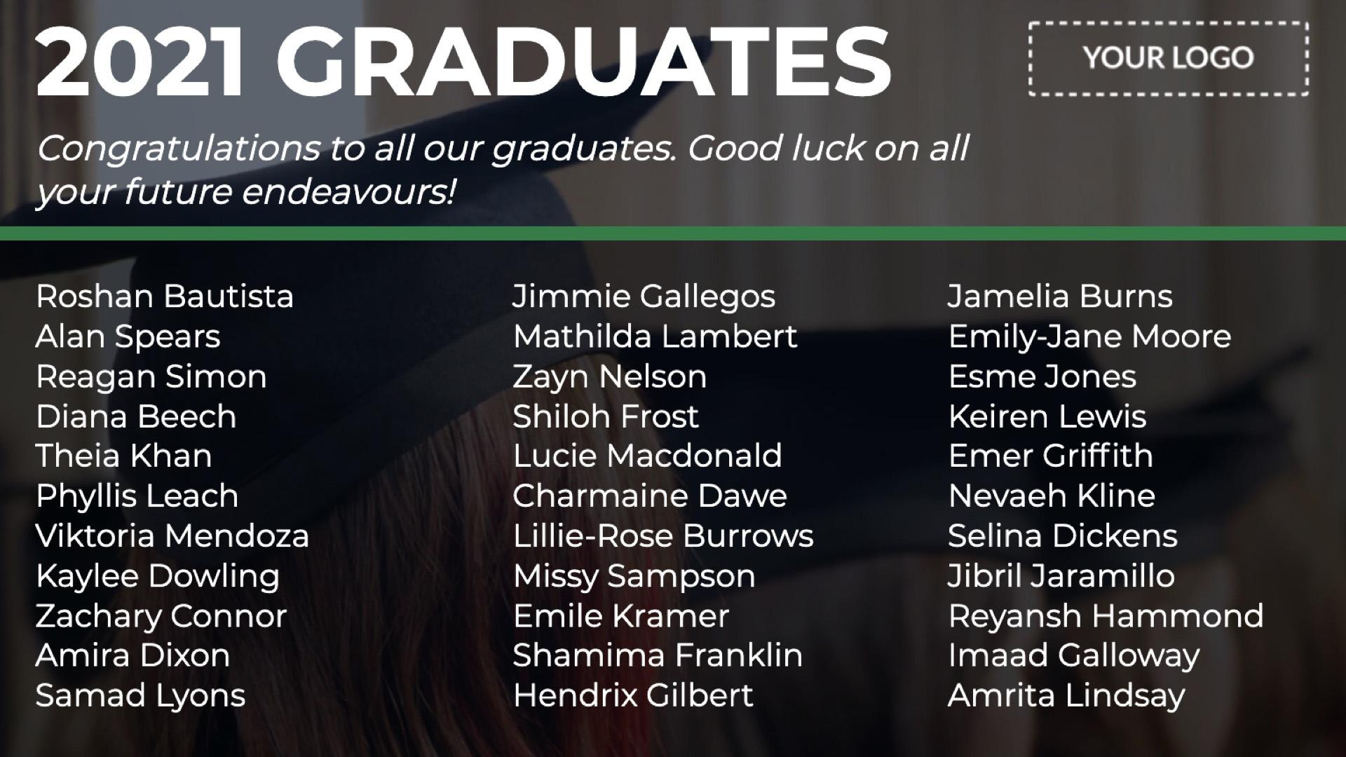Announcement Graduates Text Digital Signage Template
