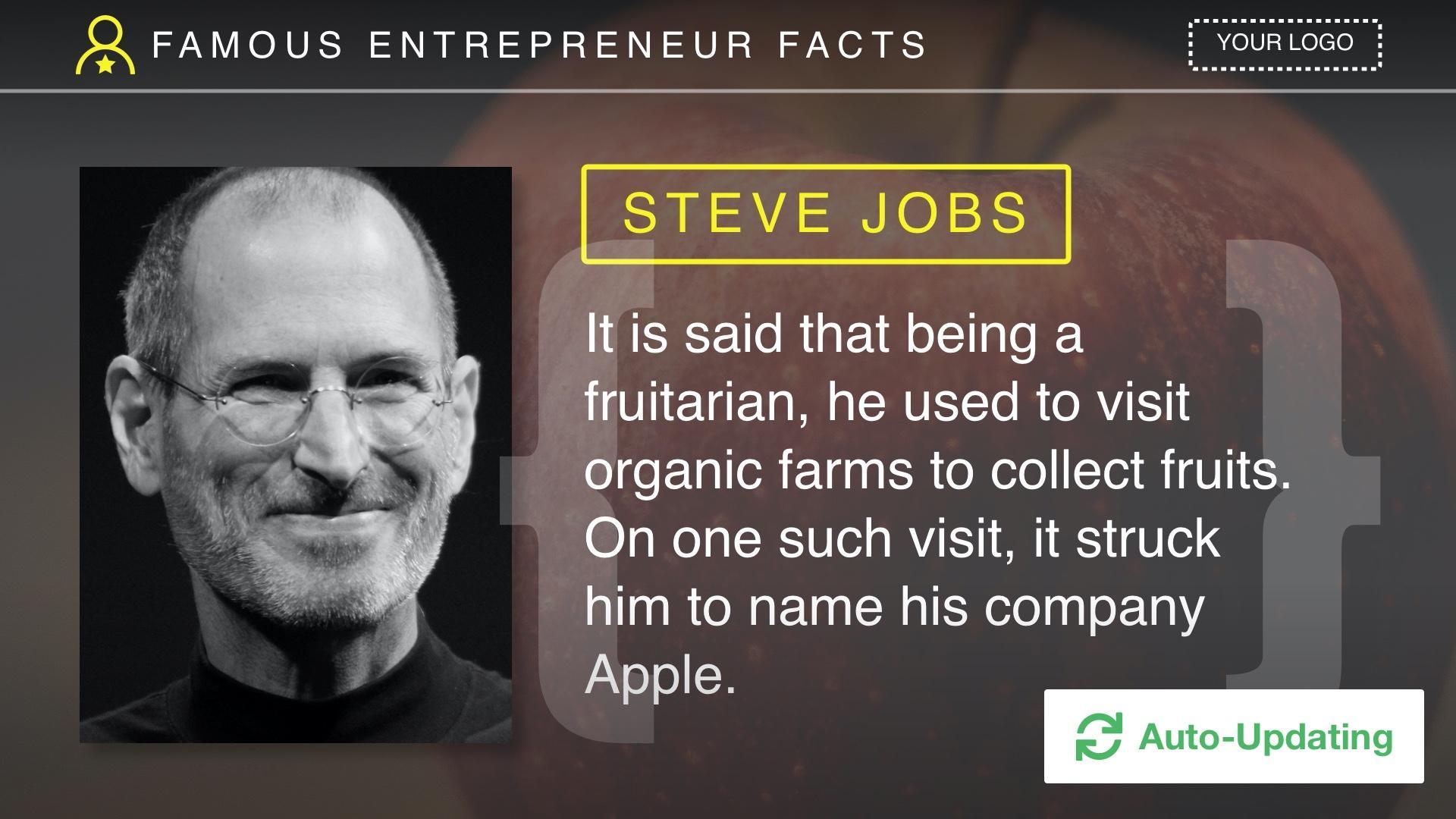 Famous Entrepreneur Facts Digital Signage Template