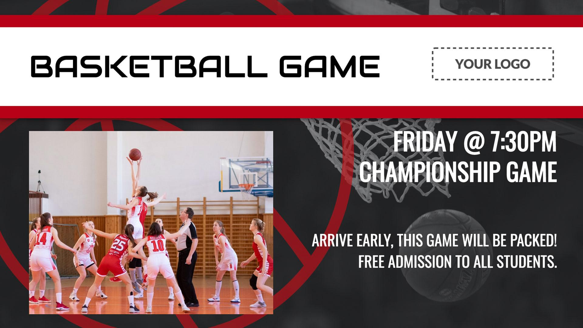 Basketball Game Digital Signage Template