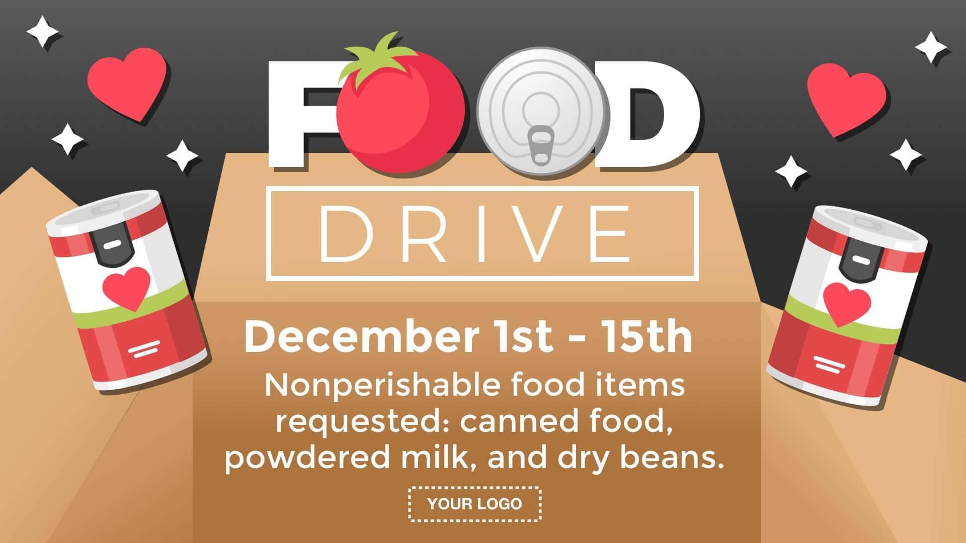 Food Drive Digital Signage Template