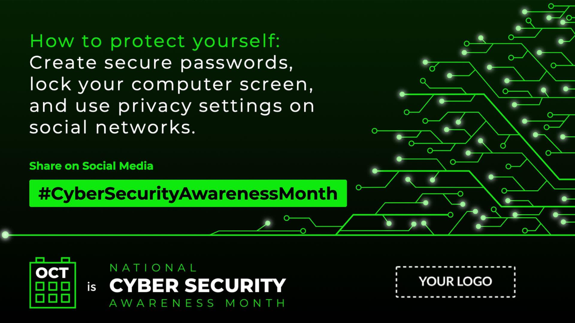 Cyber Security Awareness Month Digital Signage Template