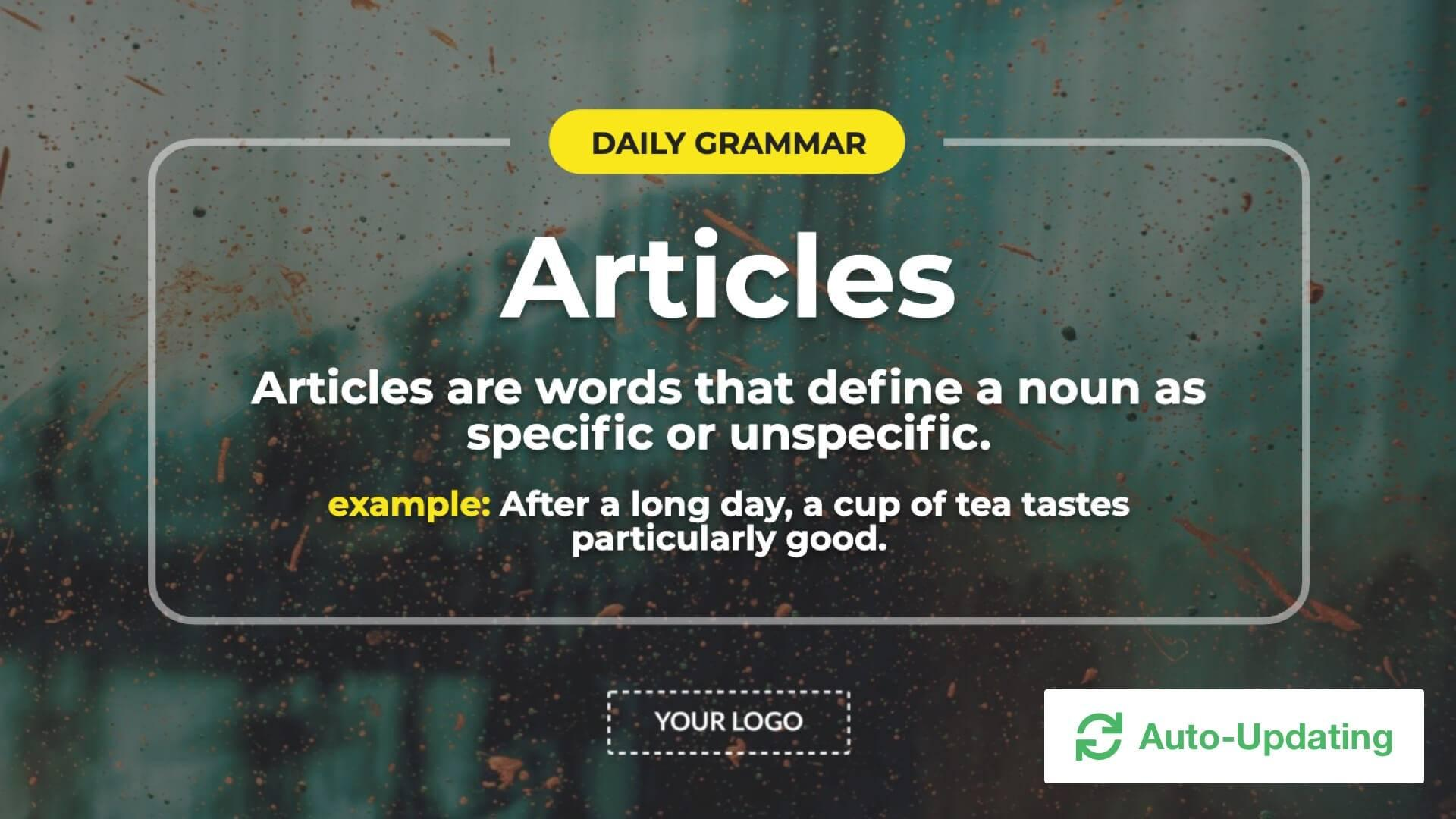 Daily Grammar Tips Digital Signage Template