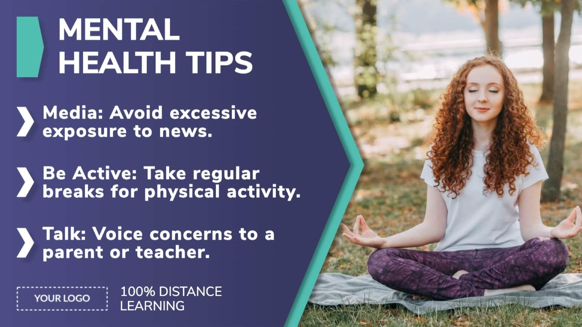 Distance Learning Mental Health Tips Digital Signage Template