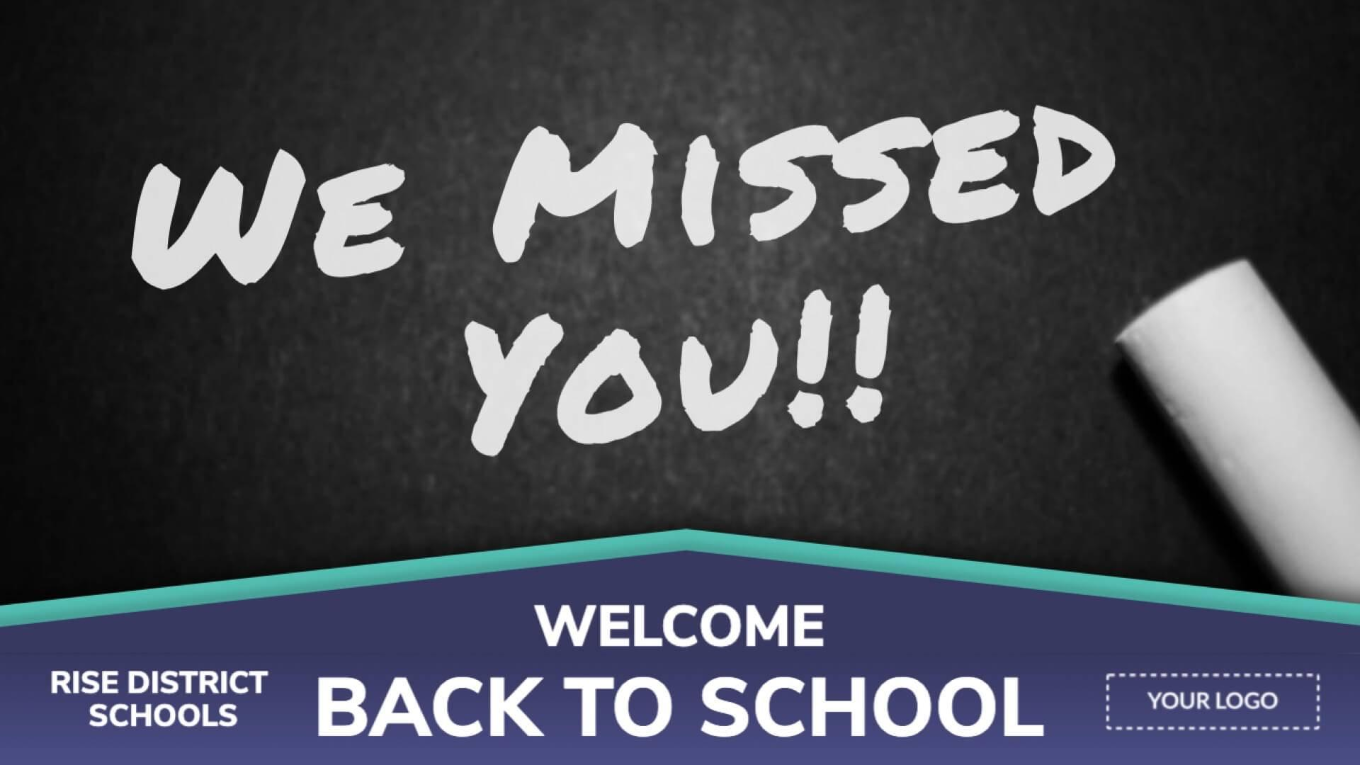 Distance Learning Welcome Back To School Digital Signage Template