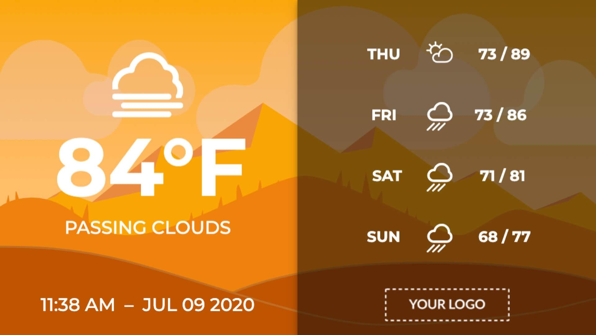 Full Screen Vector Image Weather Extended Digital Signage Template