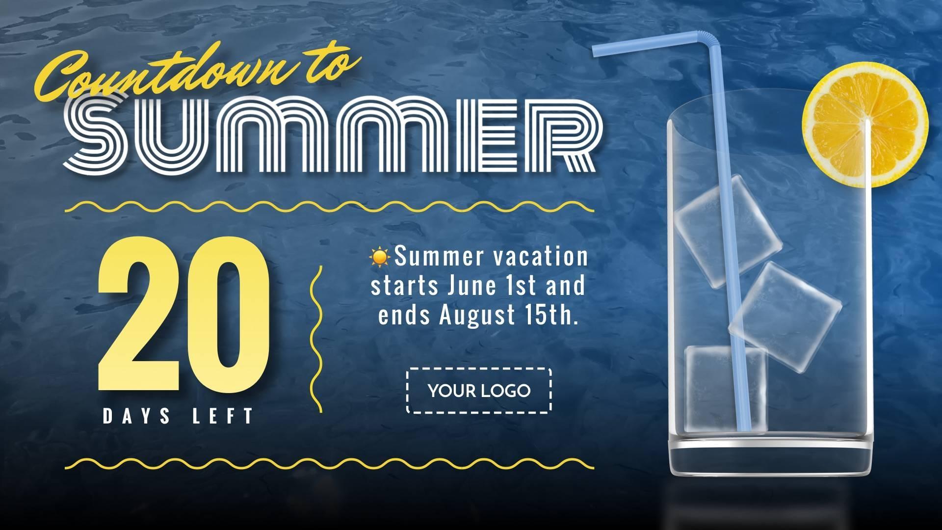 Summer Countdown Digital Signage Template