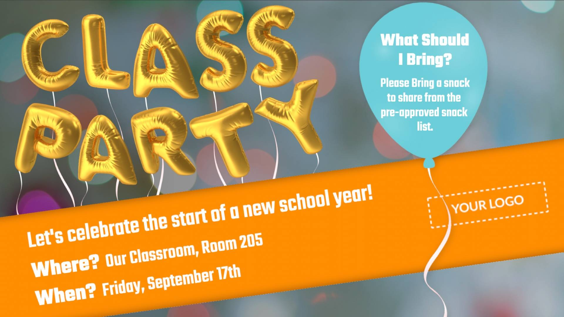 Class Party Digital Signage Template