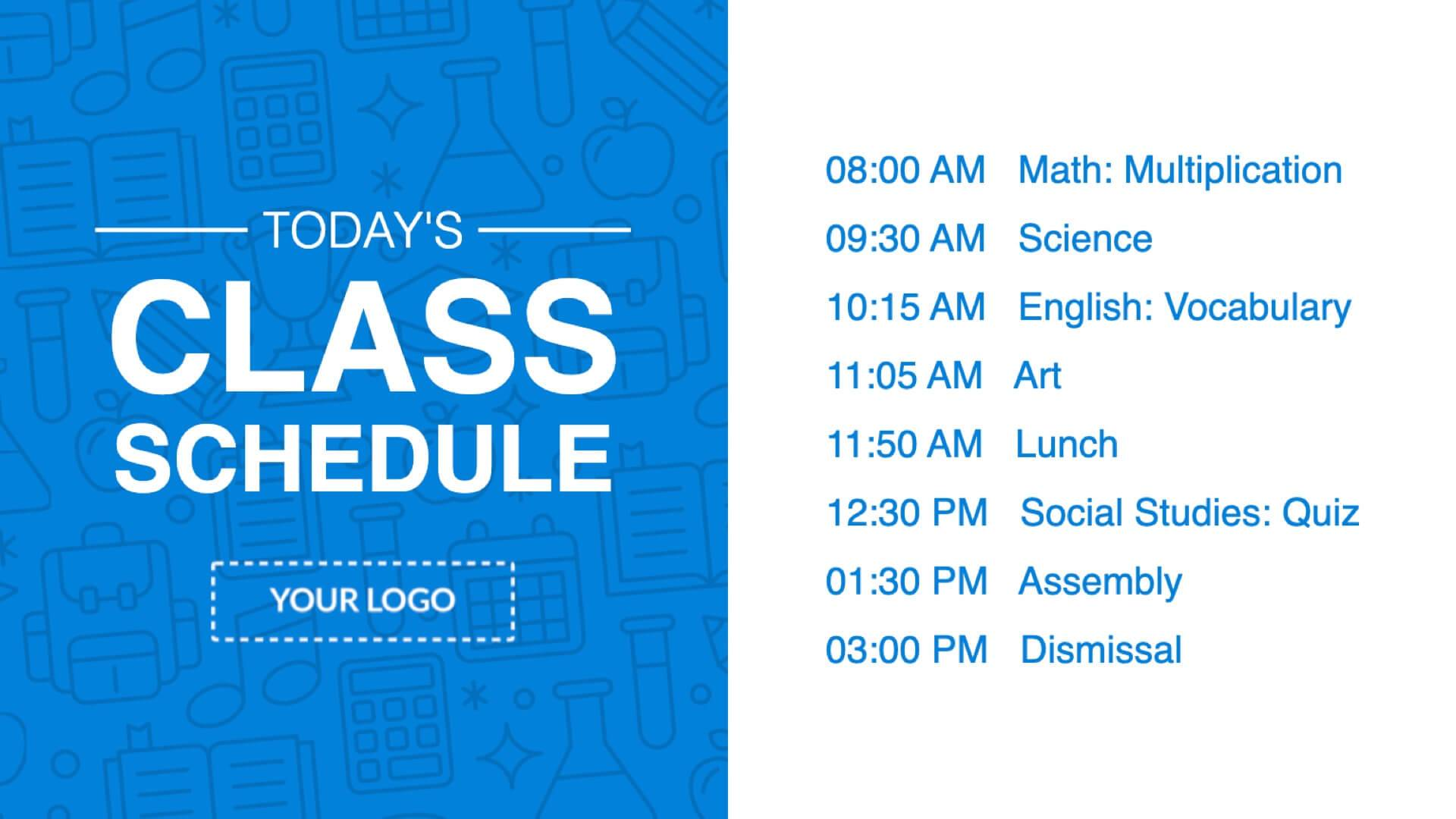 Class Schedule Digital Signage Template