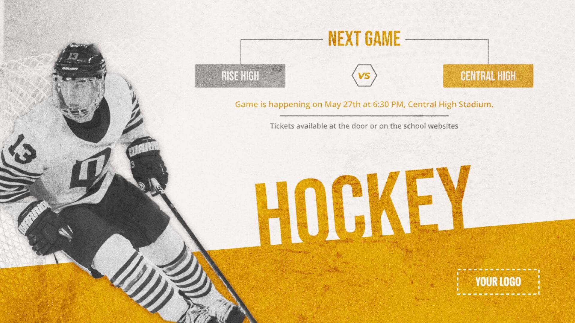 Hockey Game - Sports Digital Signage Template