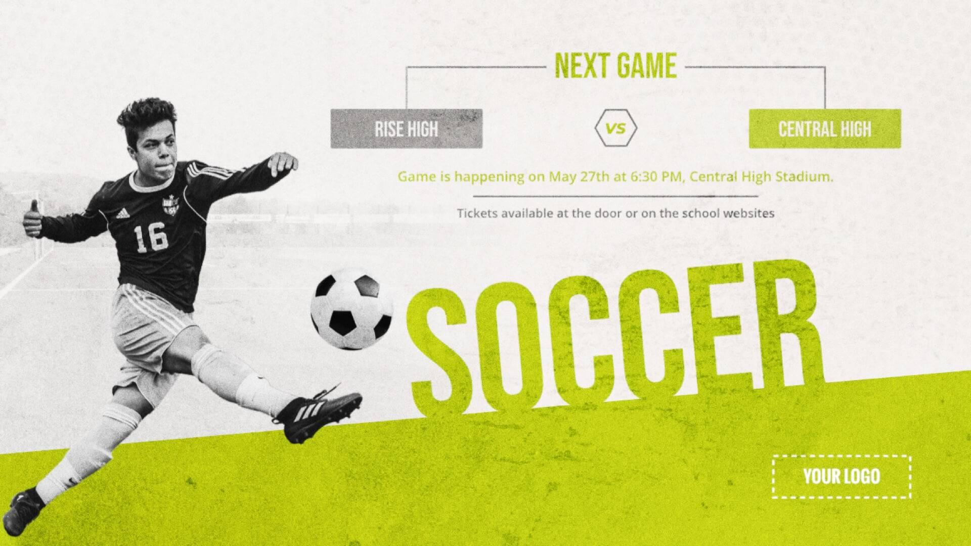 Soccer Game - Sports Digital Signage Template