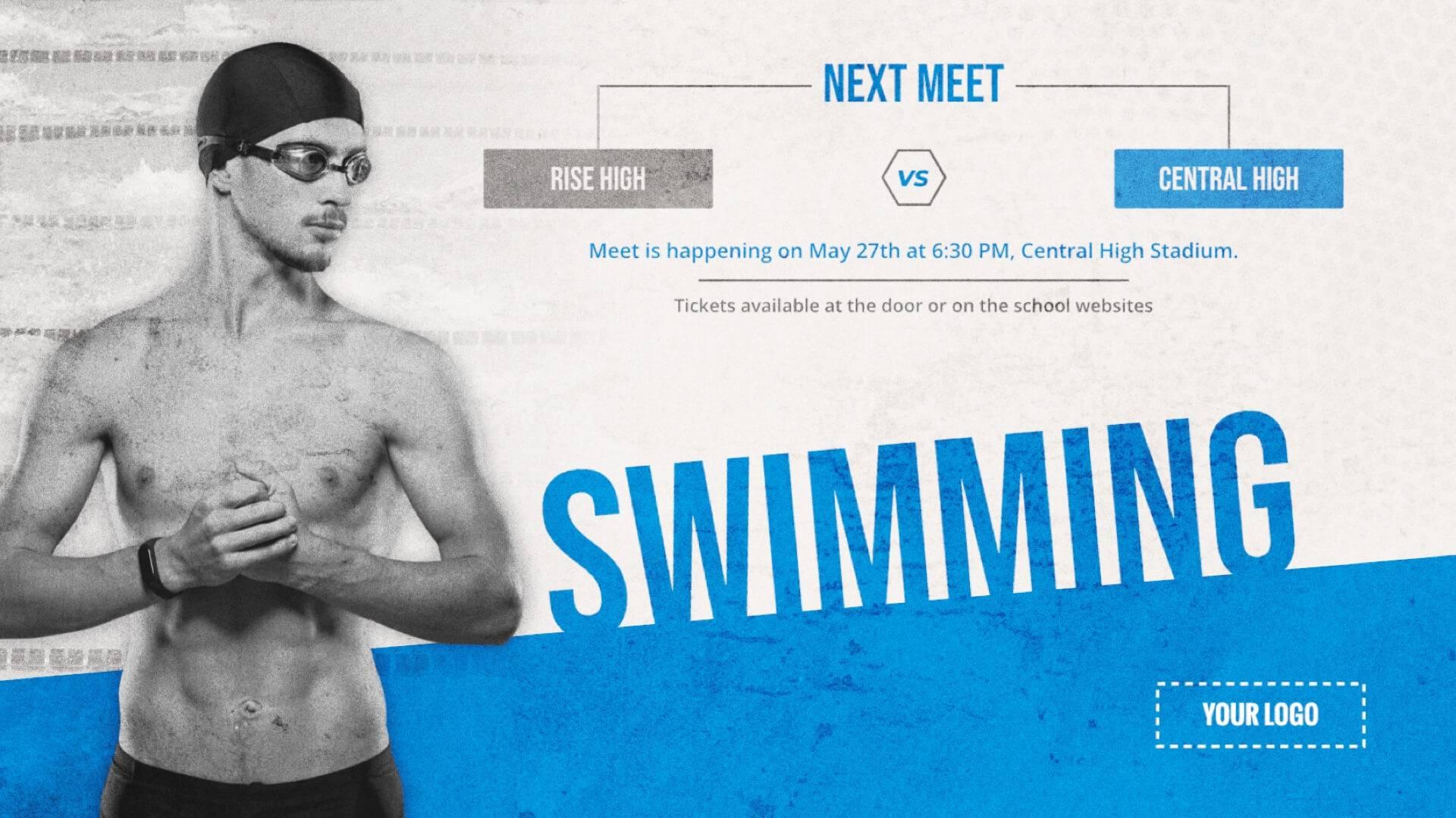 Swim Meet - Sports Digital Signage Template