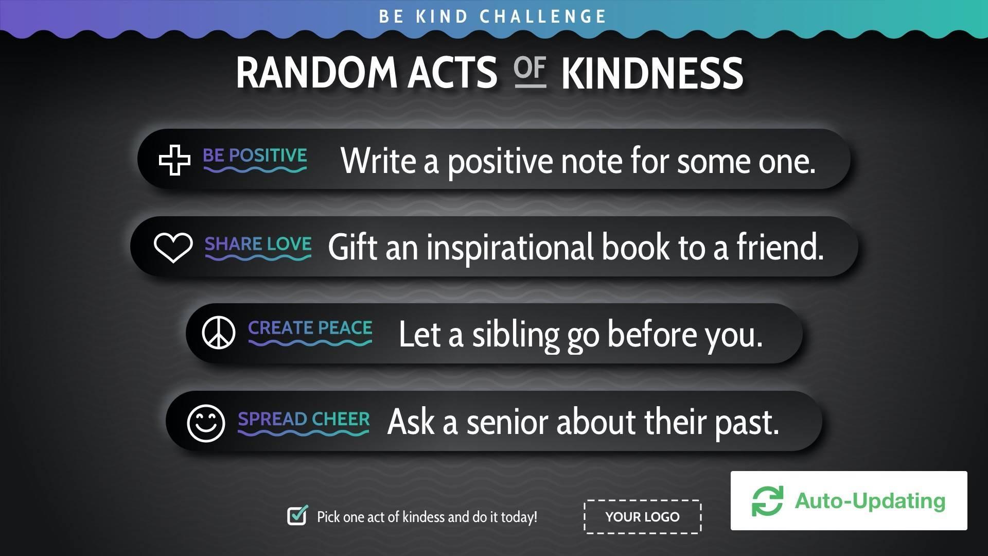 Be Kind Digital Signage Template