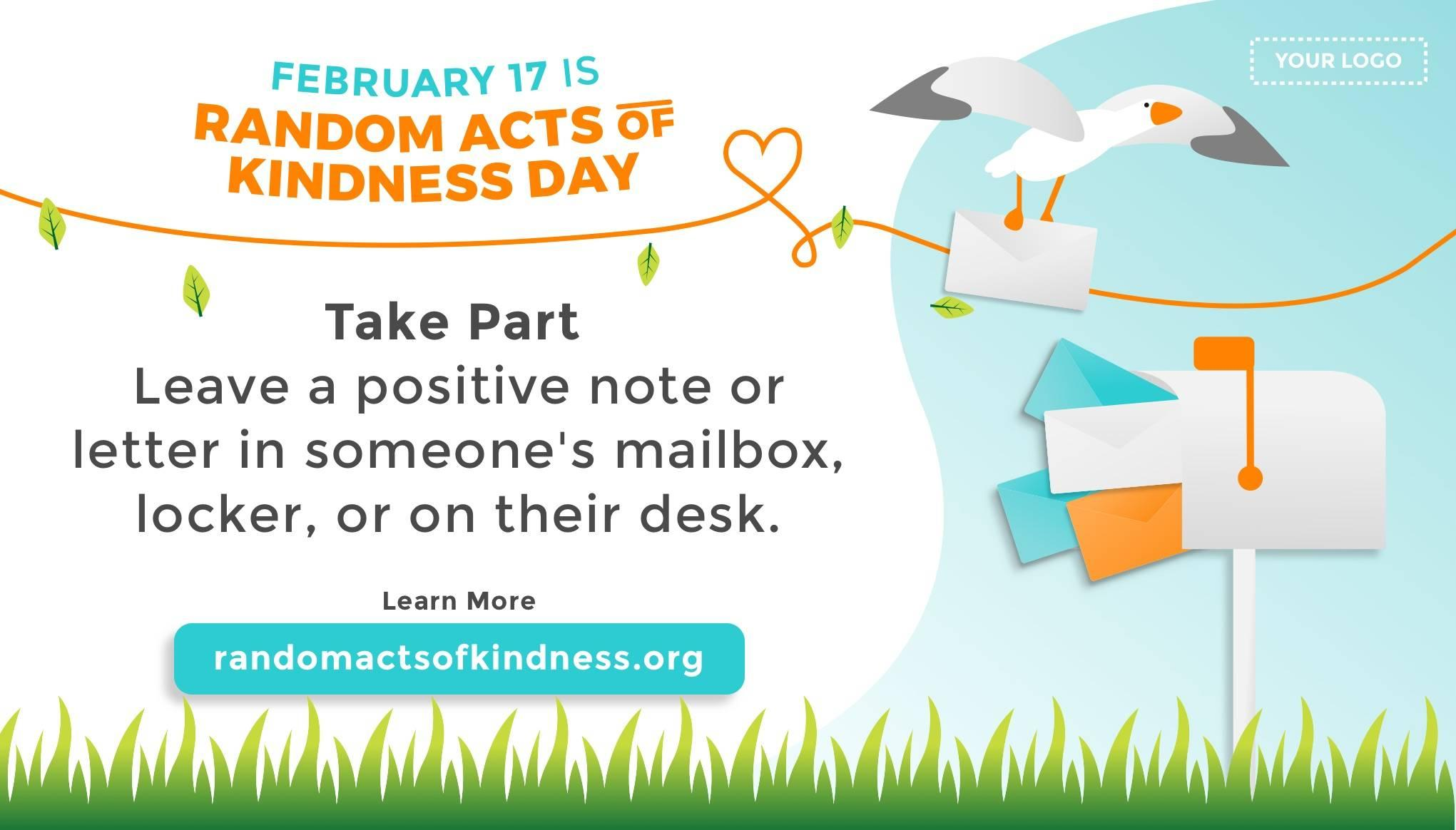 Random Acts of Kindness Day Digital Signage Template