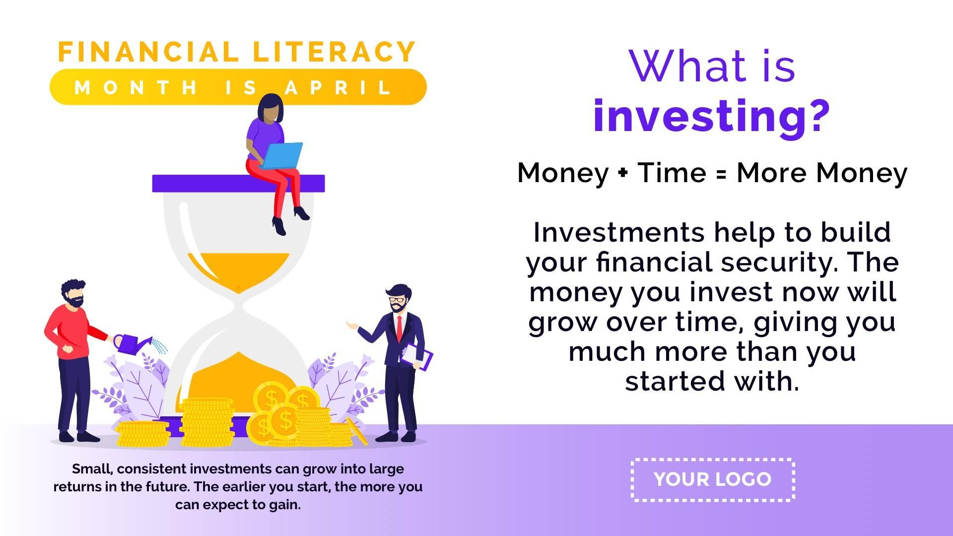 Financial Literacy Investing Digital Signage Template