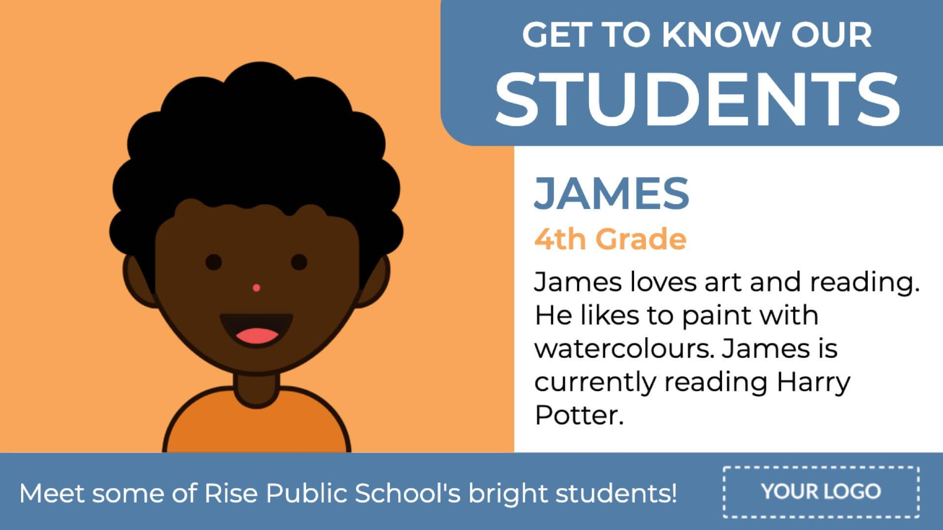 Student Profiles Digital Signage Template