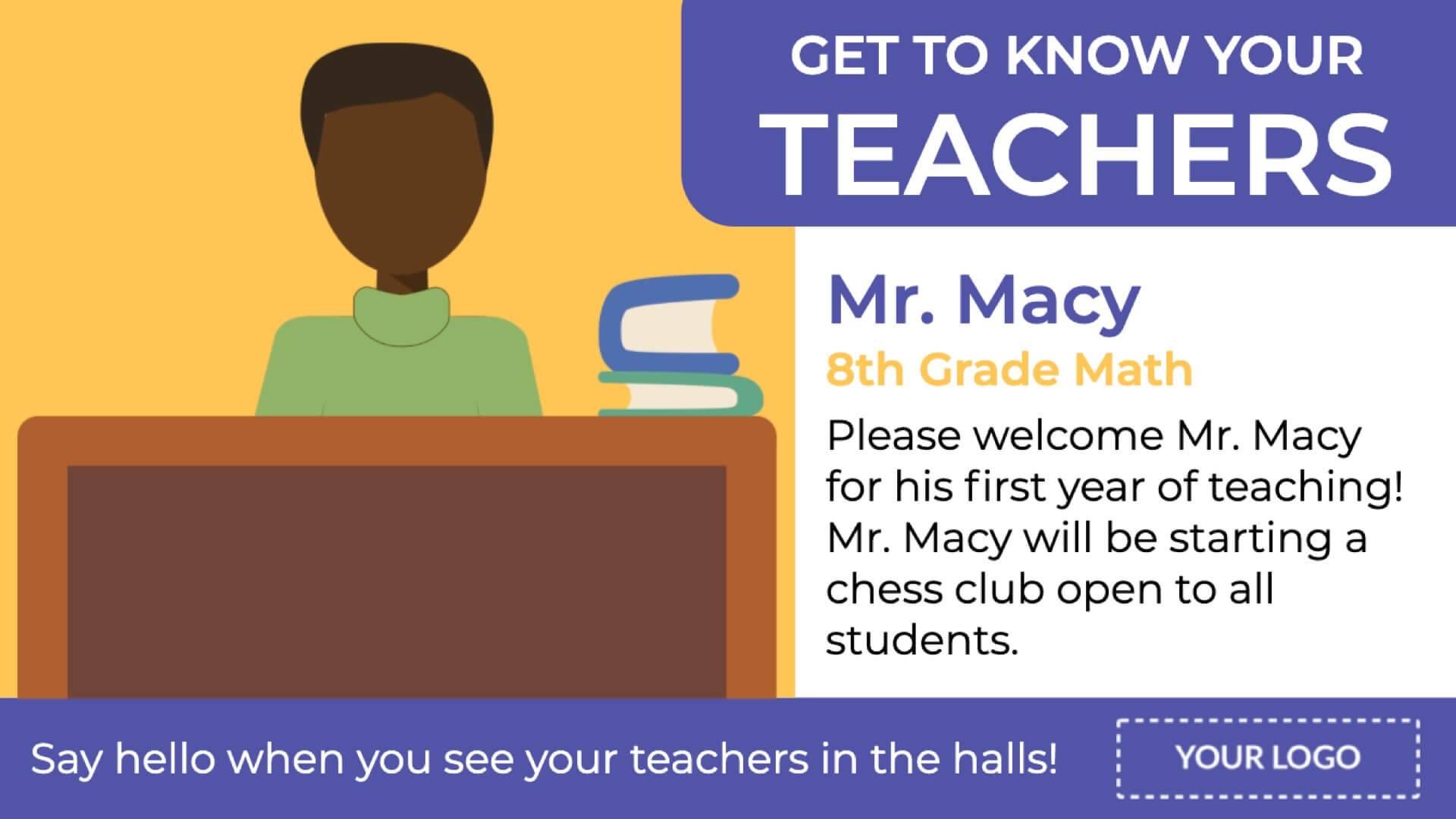 Teacher Profiles Digital Signage Template