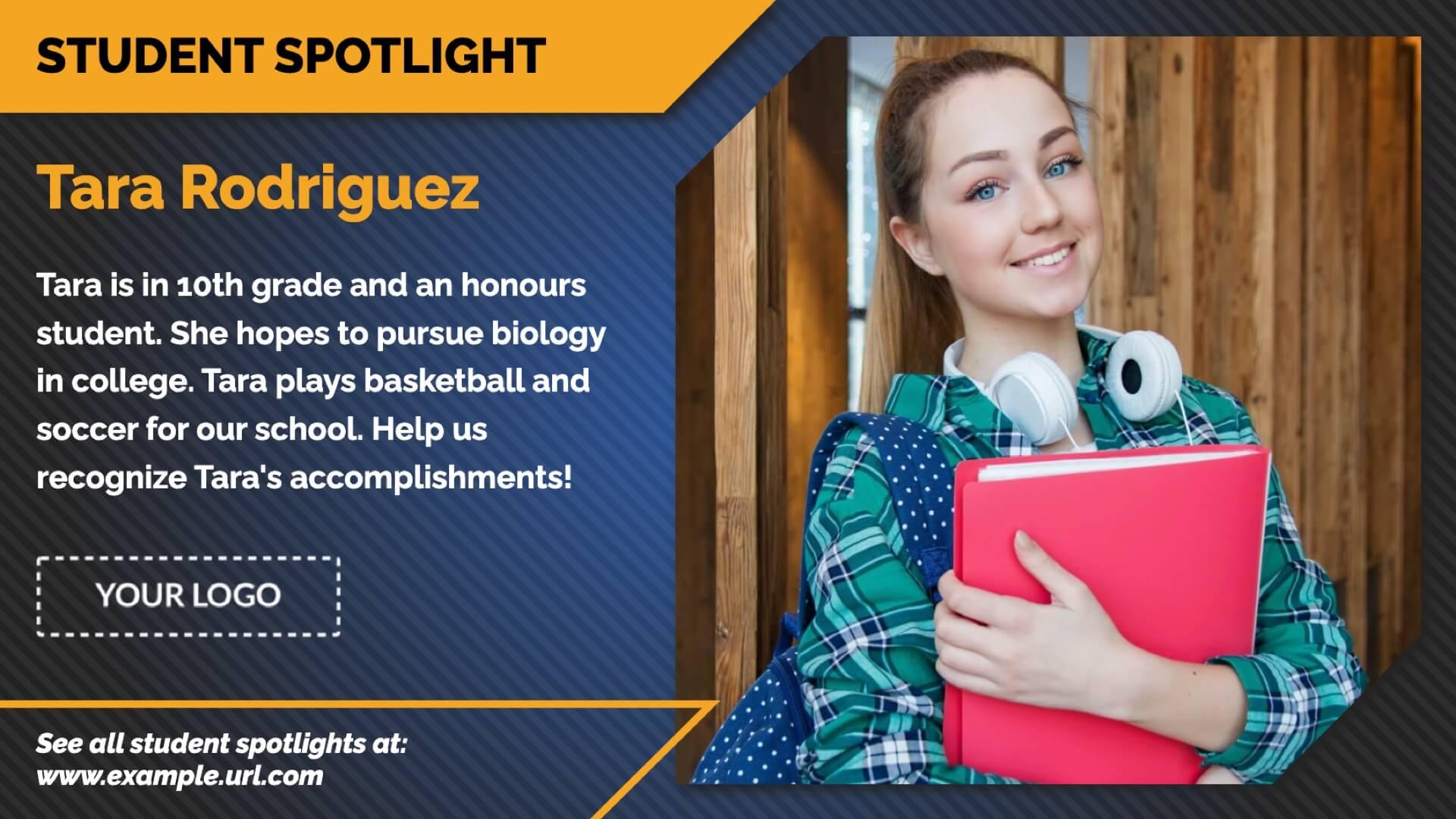 Student Spotlight Text & Image Digital Signage Template