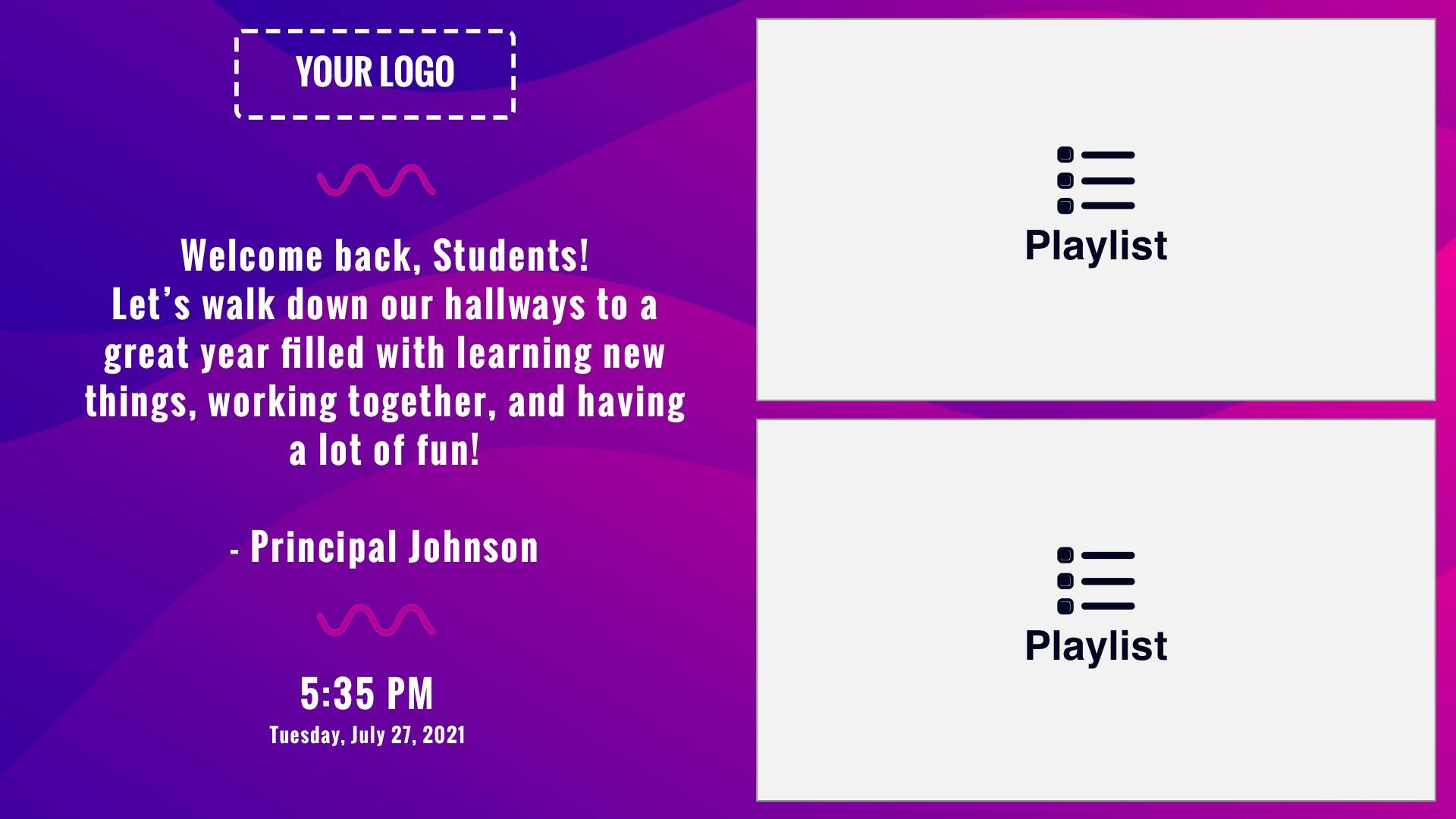 Zoned Playlist 1x2 Wave Digital Signage Template