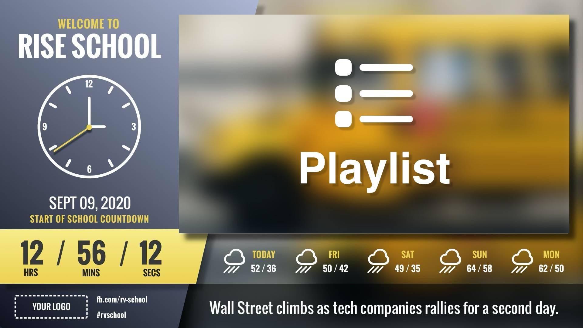 Zoned Playlist School Slant Digital Signage Template