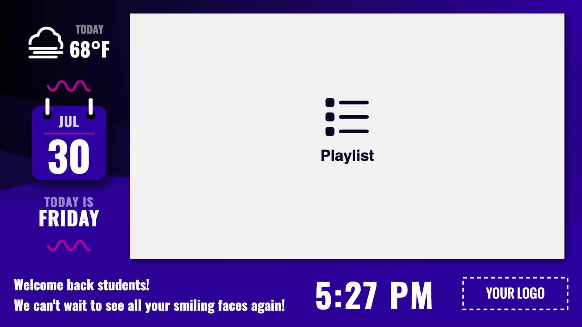 Zoned Playlist Wave Minimal Digital Signage Template