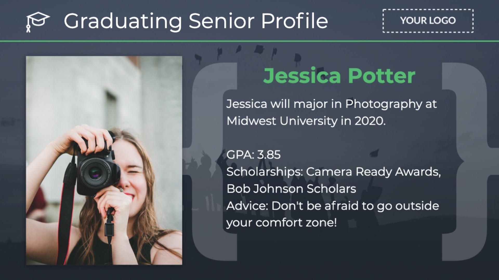 Announcement Graduating Senior Profile Digital Signage Template