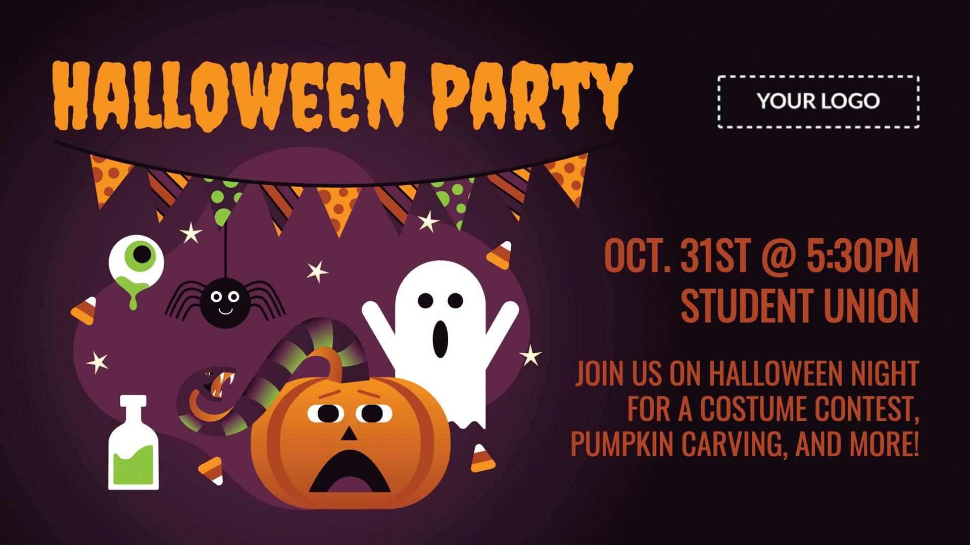 Halloween Party Digital Signage Template