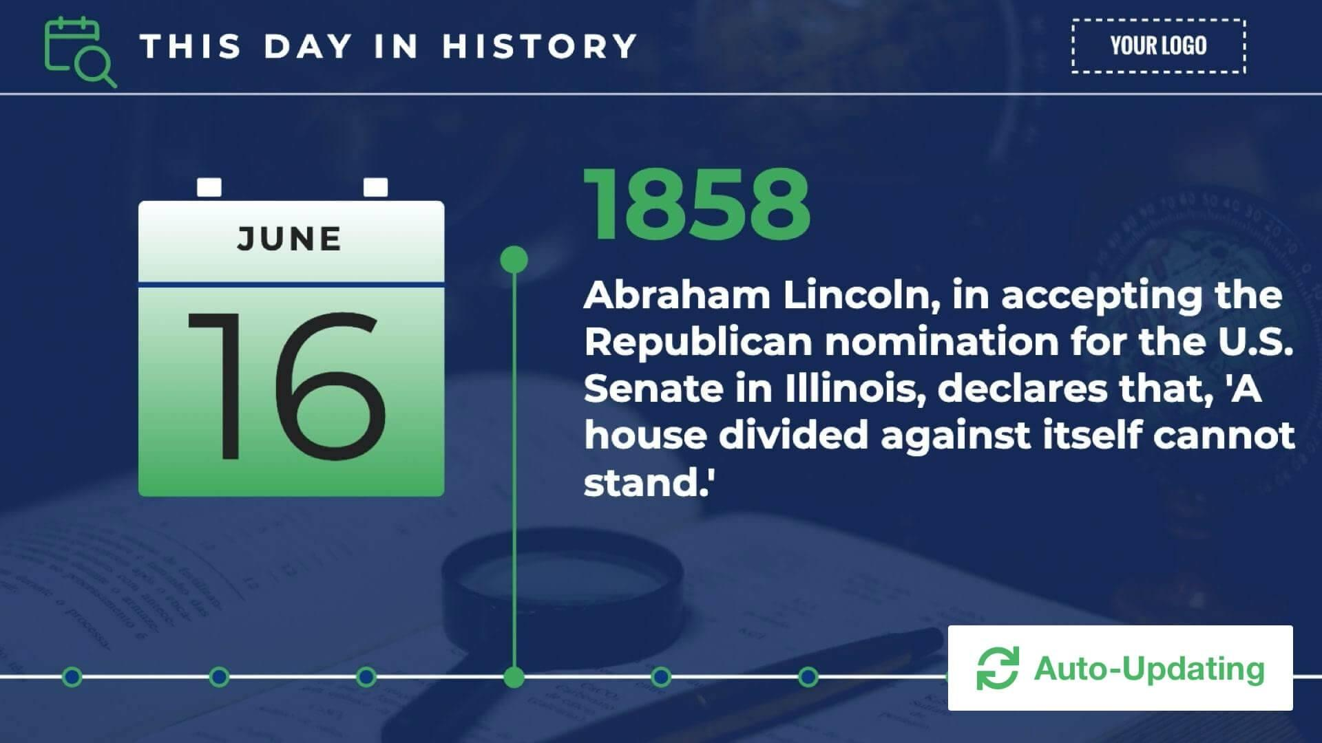 History - On This Day Digital Signage Template