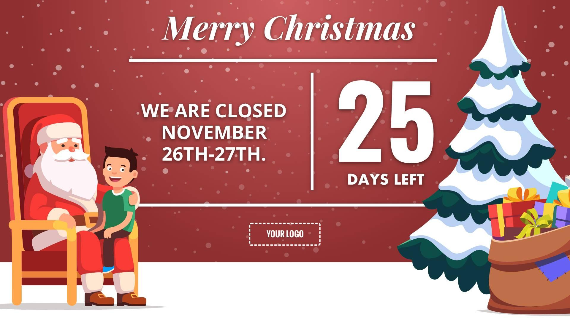 Holiday Christmas Countdown Digital Signage Template