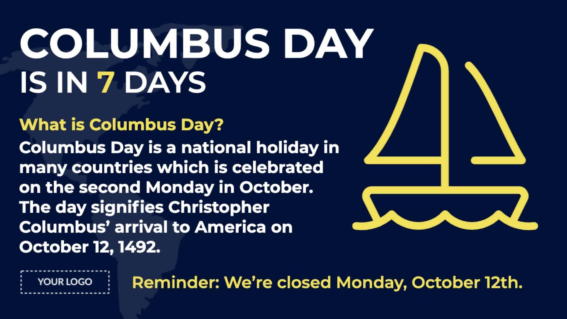 Holiday Columbus Day Digital Signage Template
