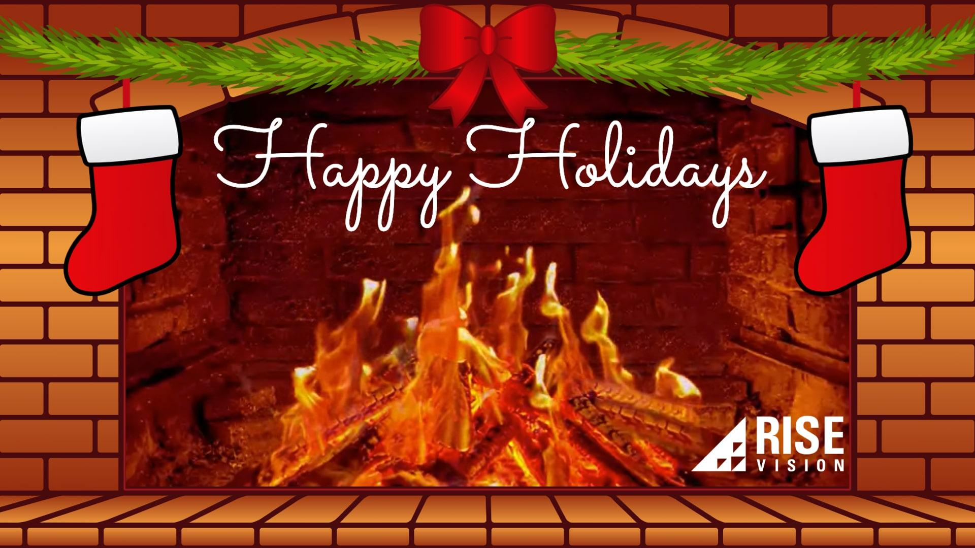 Holiday Fireplace Digital Signage Template