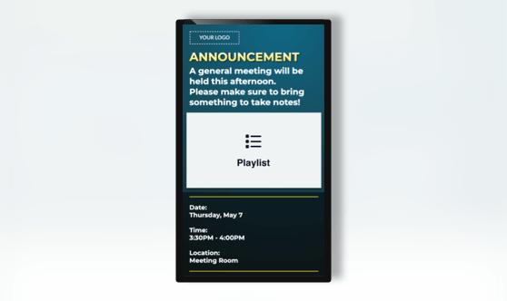 Announcement Portrait Text & Playlist