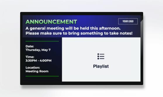 Announcement Text & Playlist