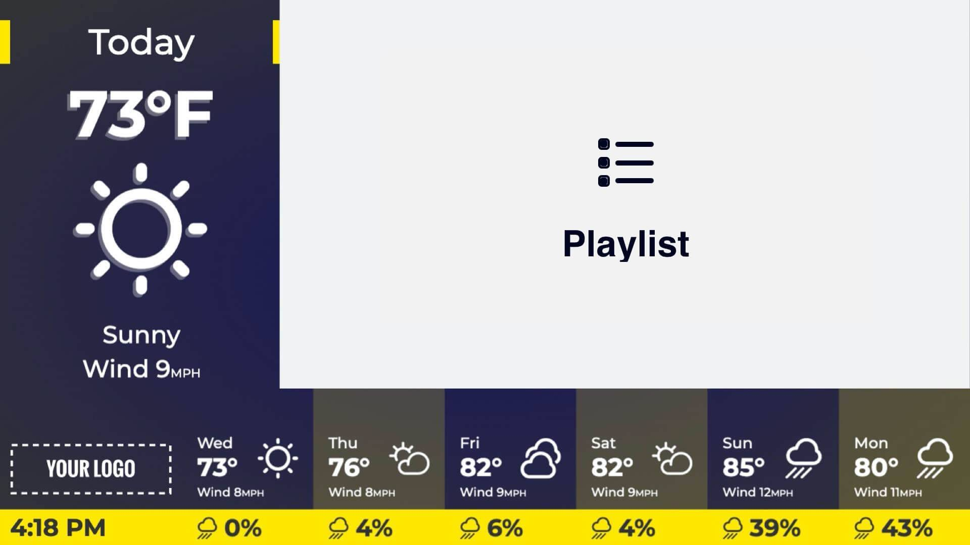 Zoned Playlist and Rain Forecast Digital Signage Template