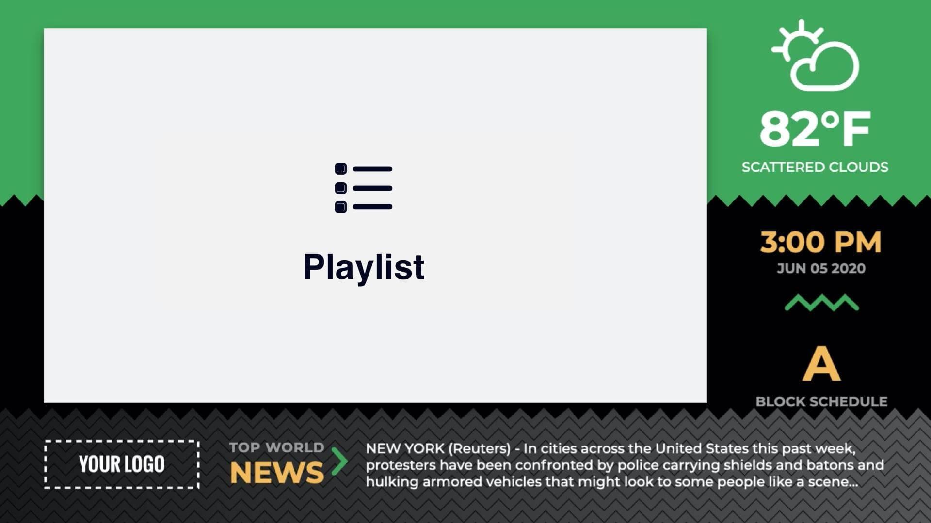 Zoned Sawtooth Playlist Presentation Digital Signage Template