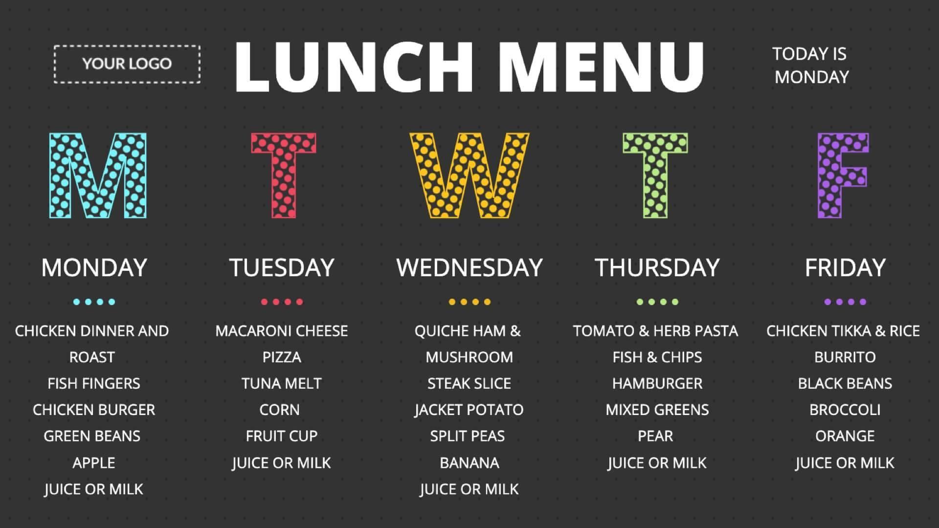 Lunch Menu Digital Signage Template